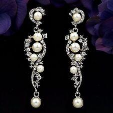 Rhodium Plated Clear Crystal Pearl Wedding Chandelier Drop Dangle Earrings 07952