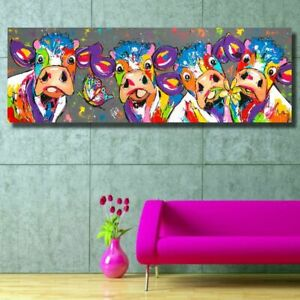 Funny-Animal-Painting-On-Canvas-Picture-Home-Decor-Cow-Poster-Modern-Art-Print