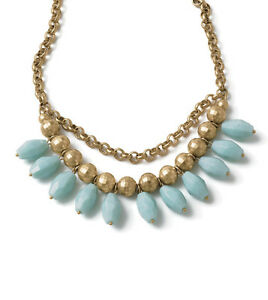 NEW-Lia-Sophia-Cabana-Statement-Necklace-Matte-Gold-Aqua-Free-Shipping
