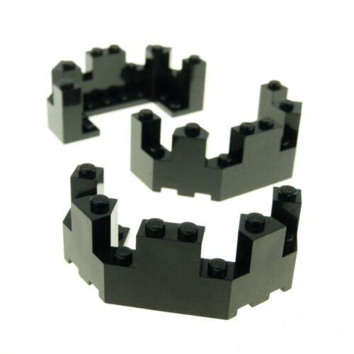 3 x Lego System Mauerteil schwarz 4x8x2 1//3 Mauer Ecke Zinne Zinnen Turm Burg Ca