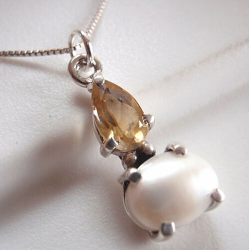 Cultured Pearl Faceted Citrine 925 Sterling Argent Pendentif Corona Sun Jewelry