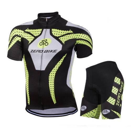 Mens Bike Cycling Uniform Bicycle Short Sleeve Jerseys Kits Quick Dry