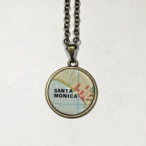 Details about INGLEWOOD SANTA MONICA CALIFORNIA USA Map Pendant Bronze  necklace vntg ATLAS