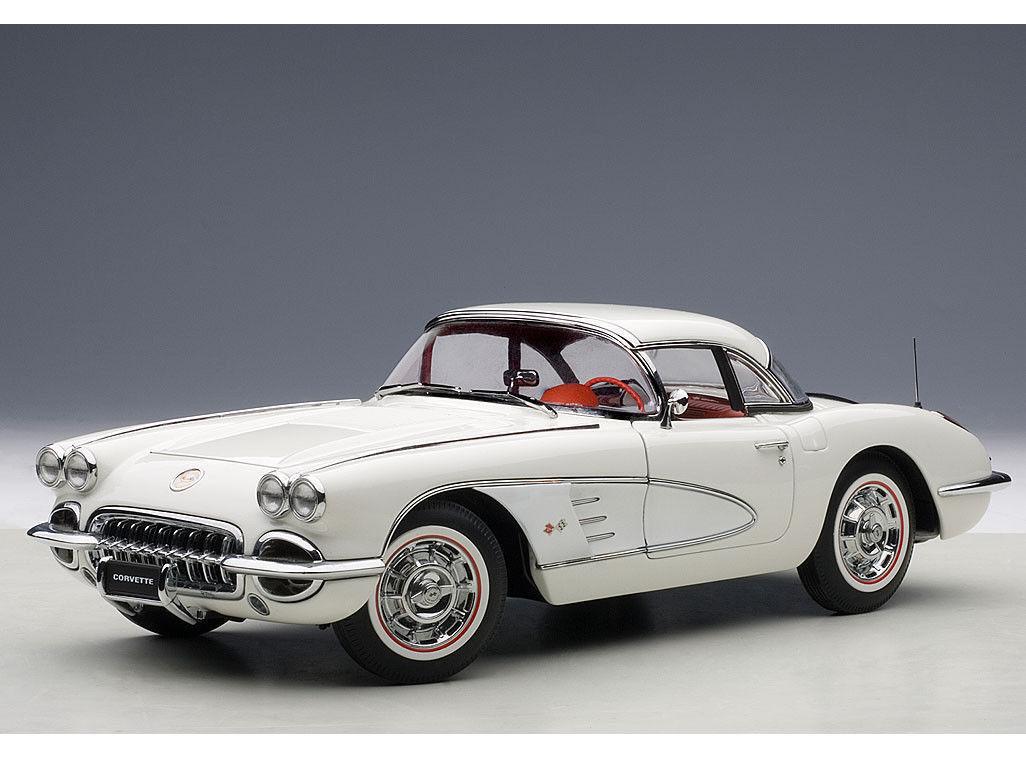 1:18 Autoart Chevrolet Corvette (Snowcrest Blanco) 1958  Gratuito Vitrina