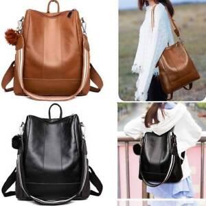 Women Leather Backpack School Laptop Travel Multipurpose Satchel Shoulder Bag