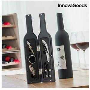 Cofanetto Accessori PER Vino Forma Bottiglia Acciaio Inox ASTUCCIO 5PZ SOMMELIER