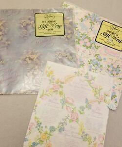 Lot-3-Vintage-Wedding-Shower-Gift-Wrap-Bells-Umbrellas-Floral-Blue-Pink-Ephemera