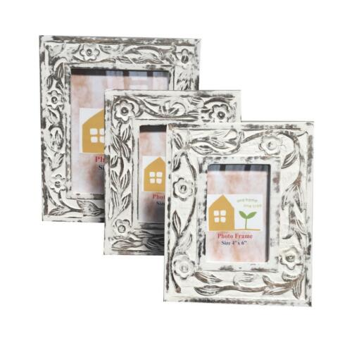 Flowers Design Antique Effect Shabby Chic White Brown Carved Wooden Photo Frame