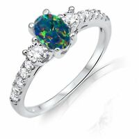 Dark Blue Oval Australian Fire Opal Cz Detail Genuine Sterling Silver Ring