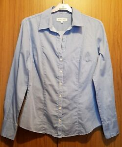 Austin Reed Women Blue Stripe Cotton Shirt Uk10 W32 L24 Armpit Armpit 17 Inches Ebay