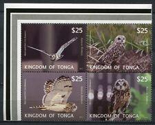 TONGA 2012 Eulen Owls Vögel Birds Satz im Zusammendruck ** MNH