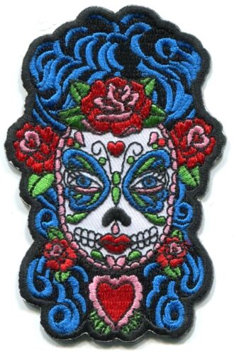y ph516 dia de los muertos candy BUTTERFLY EYES lady sugar skull IRON-ON PATCH