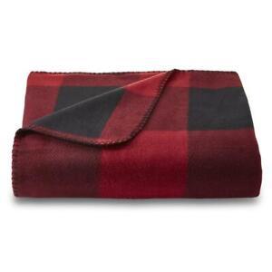 Essential Home Buffalo Check Plaid Black/Red Fleece Throw ...