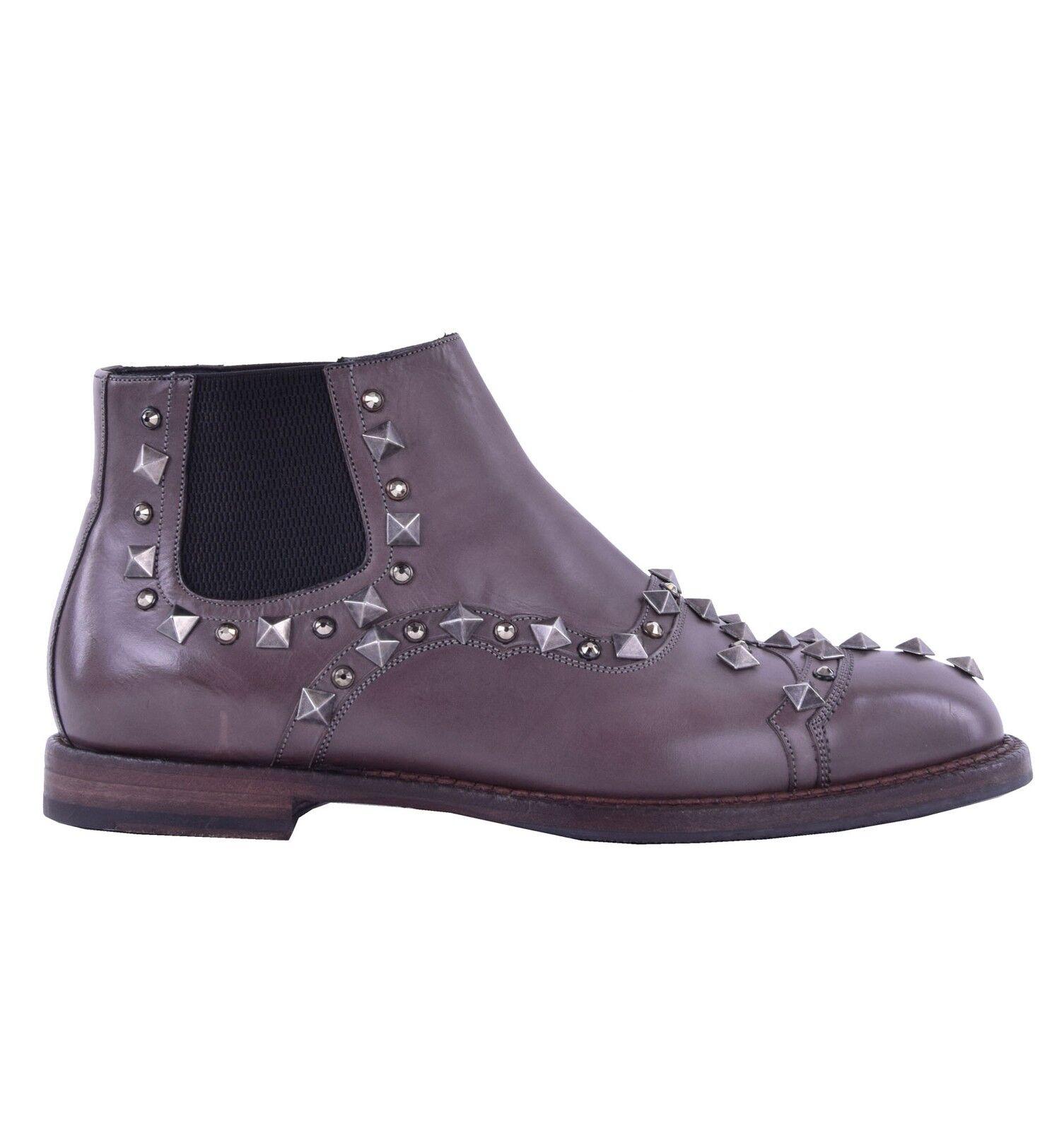DOLCE & GABBANA RUNWAY Stiefeletten mit Nieten & Strass Braun Grau Boots 04868