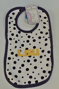 LSU-Two-Feet-Ahead-White-with-Purple-Polka-Dot-Baby-Bib-with-LSU-Geaux-font