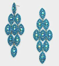 "4"" Long Teal Blue Austrian Crystal Pageant Wedding Bridal Chandelier Earrings"