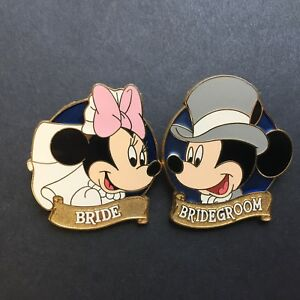 WDW-Minnie-Mouse-Bride-Mickey-Mouse-Bridegroom-2-Pins-Disney-Pin-7404-amp-7405