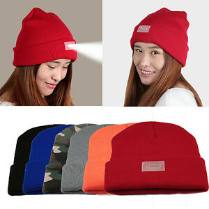 2202003e2a0 Built-In Flashlight Hat Knitted Beanie 5 LED Work Light With Beanie ...