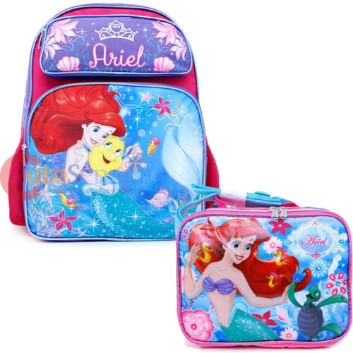 """Little Mermaid Ariel Large School Backpack 16/"""" Book Bag with Lunch Bag 2 pc Set"""
