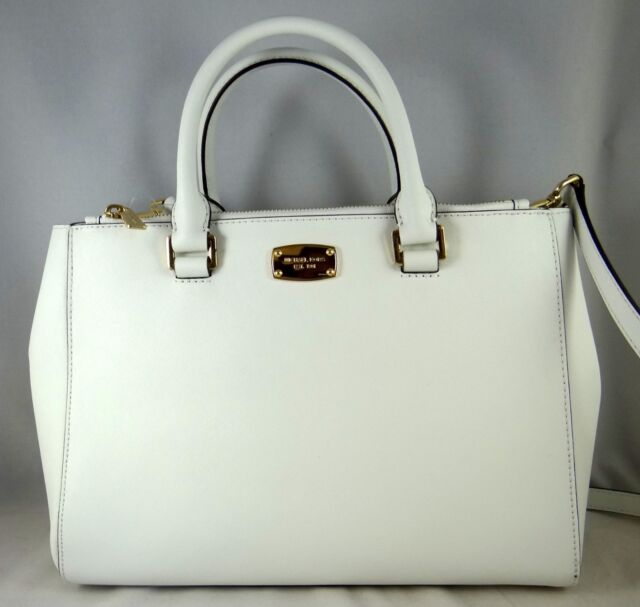 Michael Michael Kors Kellen Optic White Saffiano Leather Medium Satchel Bag 2dfc674ff66f1