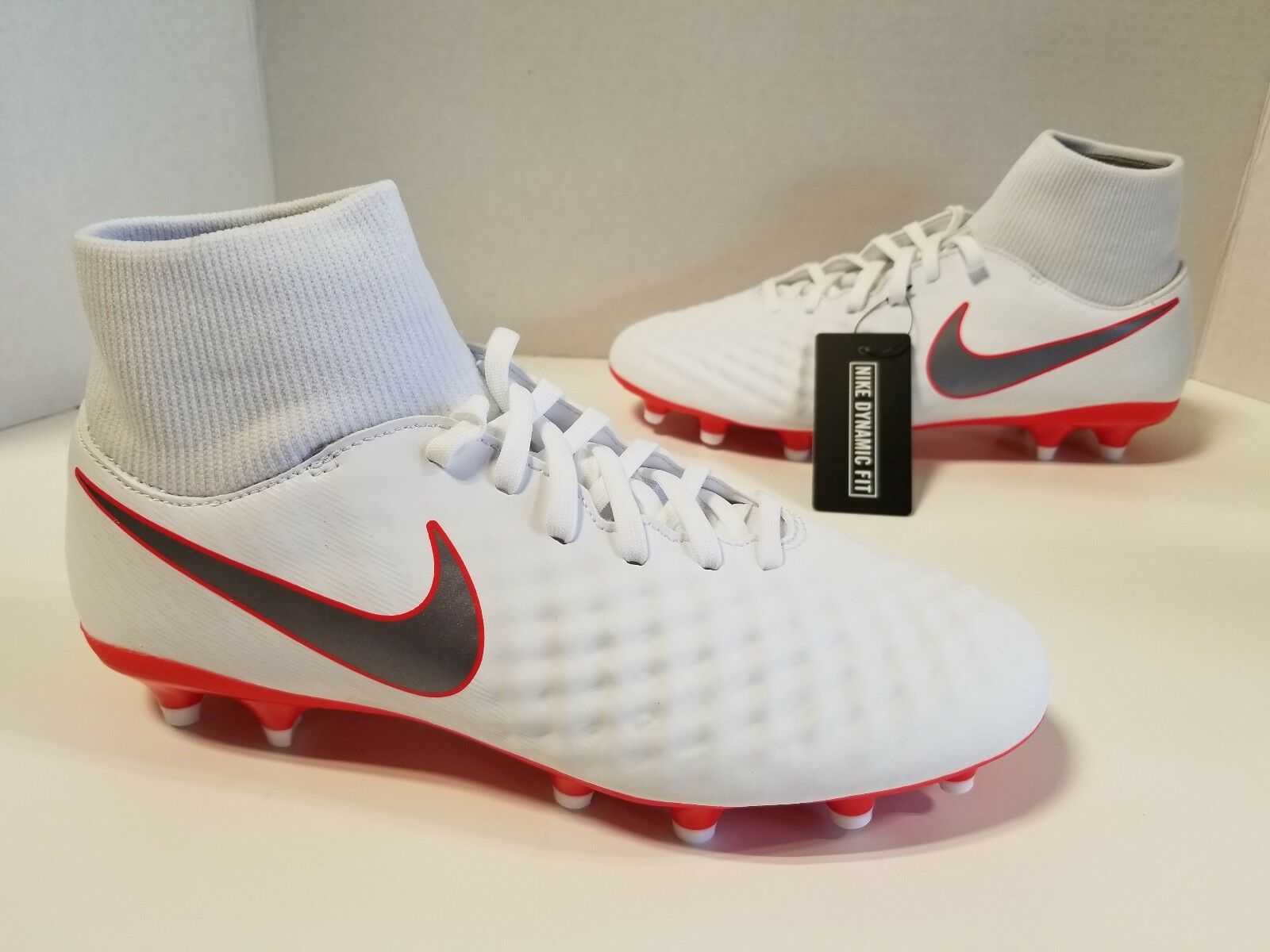 NIB MENS Nike Magista Obra 2 Academy DF FG White Metallic Cool Grey AH7303 107