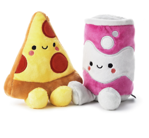 Hallmark-Valentine-Better-Together-Pizza-and-Soda-Magnetic-Plush-New-with-Tag