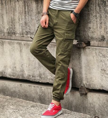 Slim Fit Mens ankle-tied Cotton Blend Trousers Outdoors Work Multi Pockets Pants