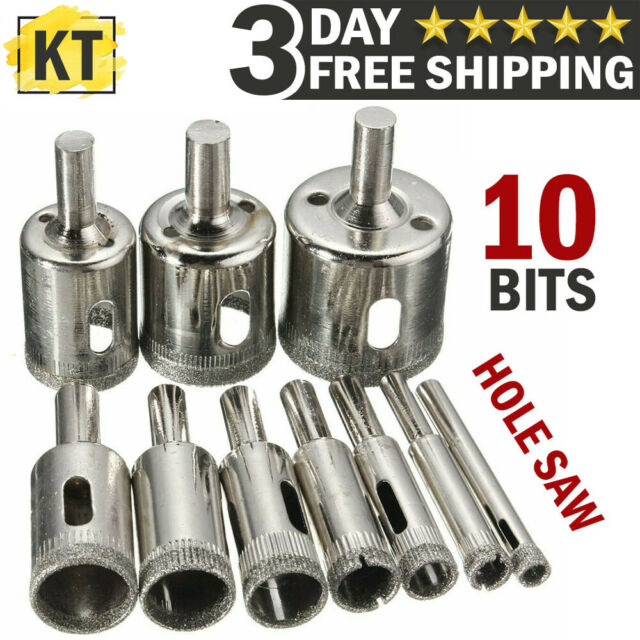 Opener Diamond Coated Hole Saw Set Cutter Glass Marble Drill Bits Cutting Tools