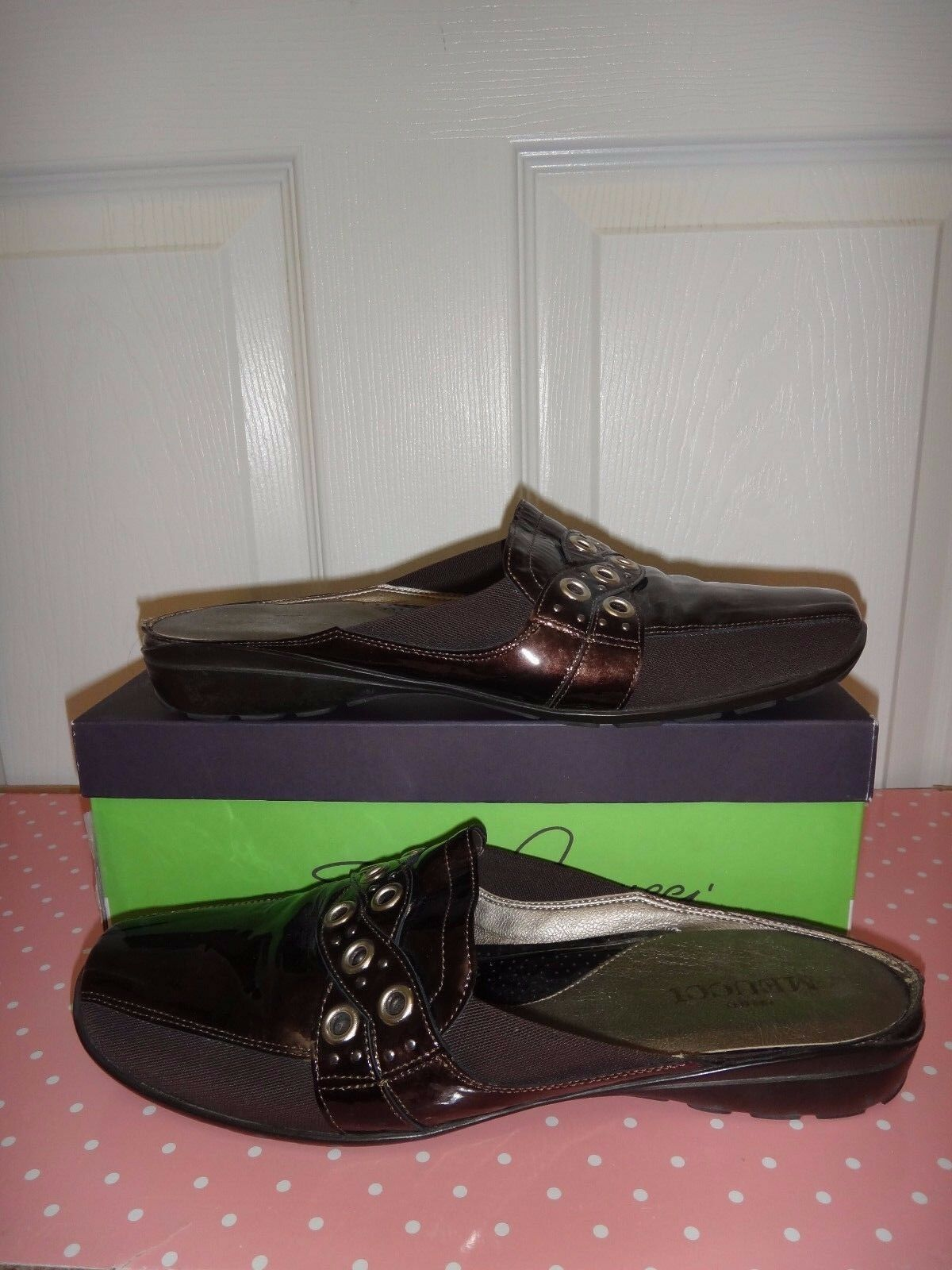 SESTO MEUCCI Womens Flats Flats Flats Mules Brown Patent Leather Textile MADE IN ITALY Sz 10 c4d1c7
