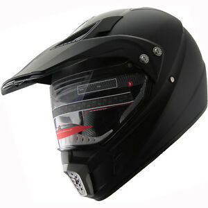 Dirt Bike Helmet With Visor >> Atv Dual Sports Motocross Offroad Dirt Bike Helmet Matt Black A06 W