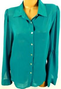 Forever-21-green-sheer-see-through-women-039-s-button-down-long-sleeve-plus-top-1X