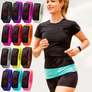 Hombre-O-Mujer-Moda-Digital-LED-Reloj-Deportivo-Silicona-Banda-reloj-de-pulsera
