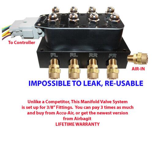 "Accu-rate-Air Manifold air suspension kit 1//4/""= all controllers air springs bags"
