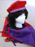 Red Hat & Scarf Set / Newsboy Hat W Reversible Shawl/scarf In Red & Purple /