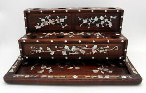 FINE-ANTIQUE-CHINESE-ROSEWOOD-MOTHER-OF-PEARL-INLAY-OPIUM-DAMPER-STAND-amp-TRAY