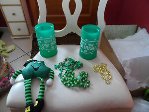 St. Patrick's day party lot - beads, 2 freezer mugs, toy