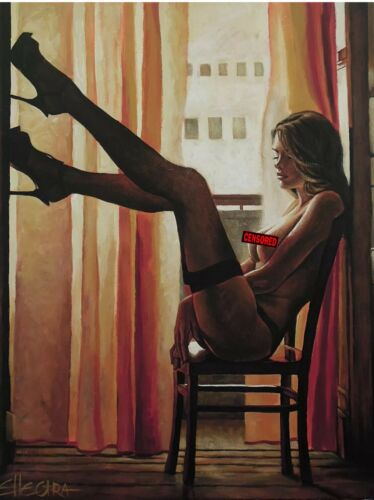 ORIGINAL NUDE EROTIC OIL LESBIAN INTEREST LIMITED EDITION PRINT BY ELLECTRA