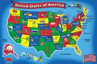Melissa And Doug Usa Map 51 Pcs Floor Puzzle , New, Free Shipping on sale