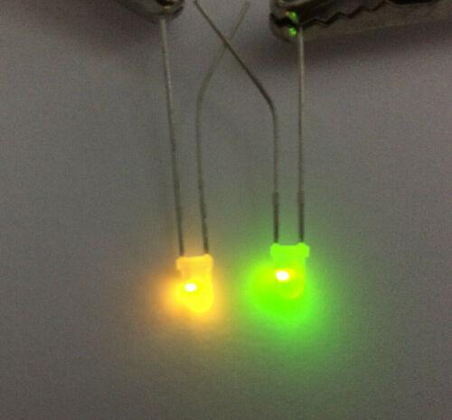 3mm Green /& Yellow Bicolour LED 570nm /& 586nm Inverse 2-Pin L-317GYW Multi Qty