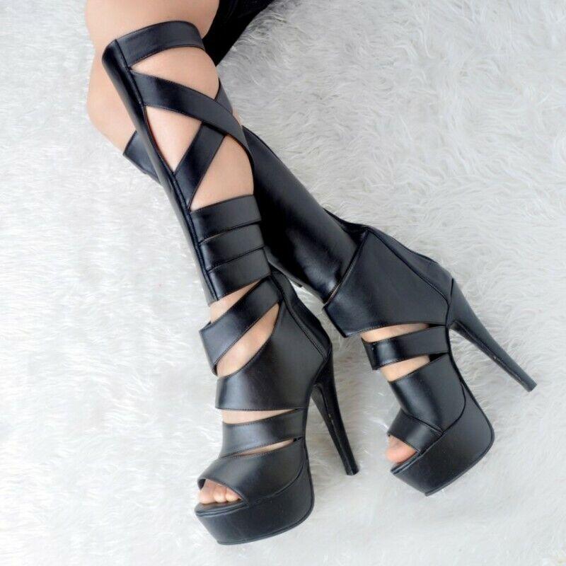 Women Knee High Boots Peep Toe Stiletto Heel Club shoes Gladiator Black US4-12.5
