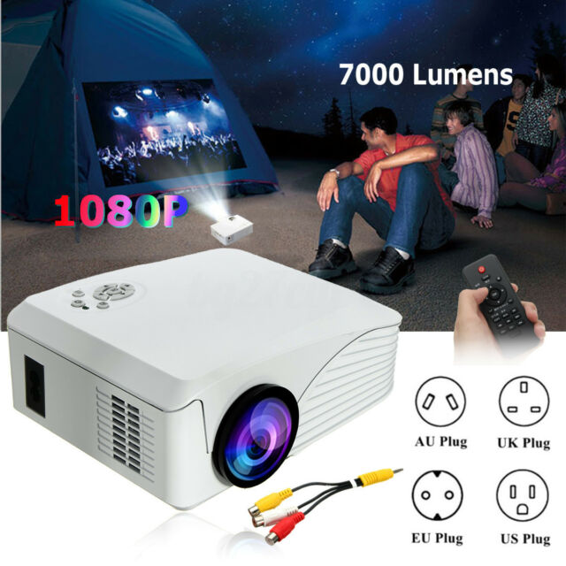 7000 Lumens Mini HD 1080P 3D LED Video Projector Home Cinema Theater HDMI USB SD