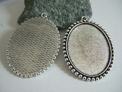 10/30 Pcs Antique Silver Pendant Trays Blank Bezel Cabochon Setting Base 35*45mm