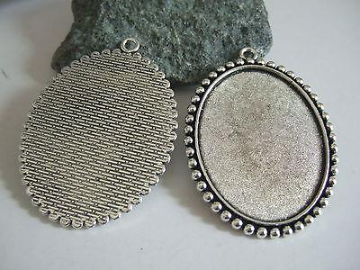 10/30 Pcs Antique Silver Pendant Trays Blank Bezel Cabochon Setting Base 35*45mm