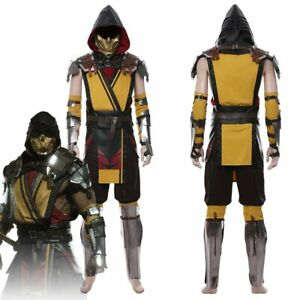 Game Mortal Kombat 11 Scorpion Cosplay Costume Male Outfit Full