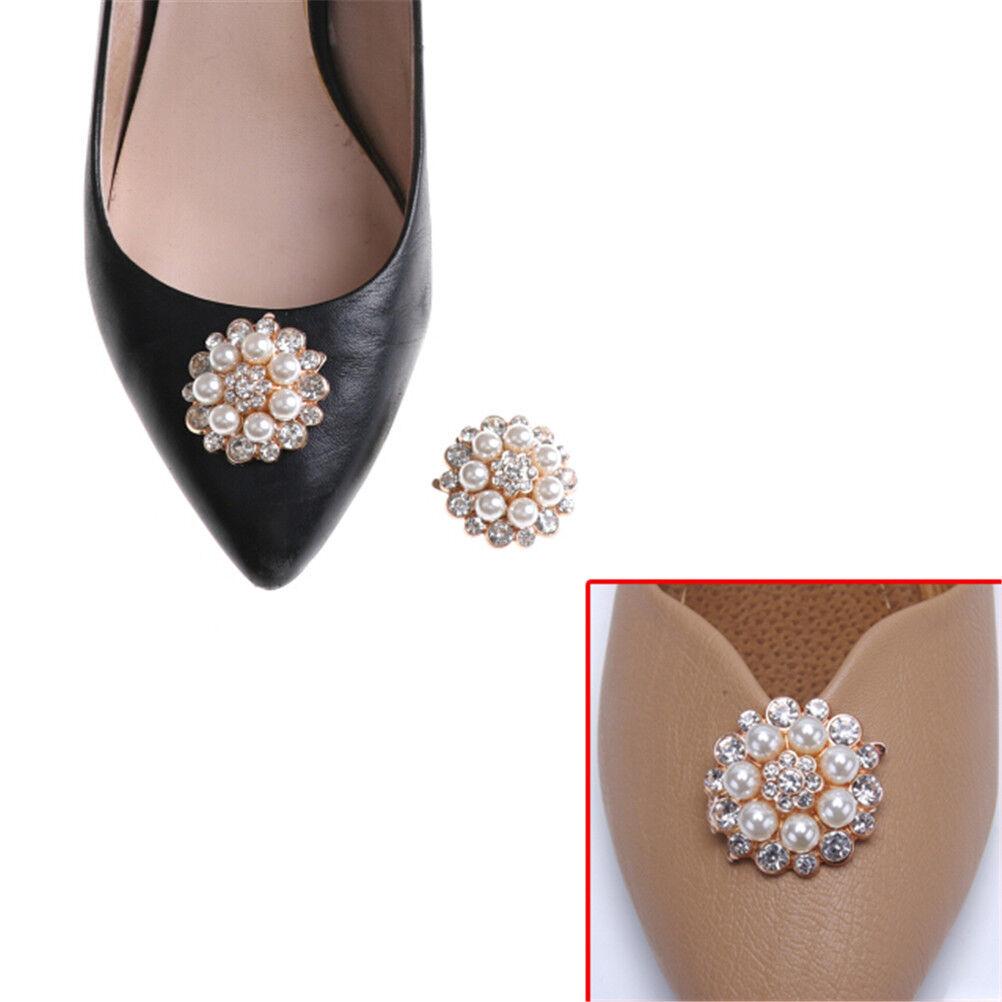 1PC Shoe Clips Faux Pearl Rhinestones Metal Bridal Prom Shoes Buckle De LAPTPT