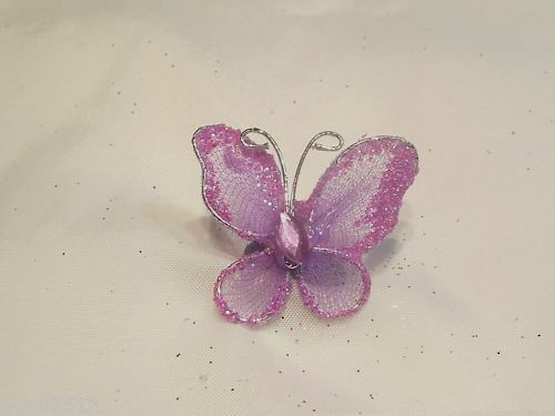 8 x Oganza//Gauze Glitter Butterflies Lilac SGGB11 P