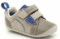 Clarks 'tiny Soft' Boys Sand Leather Velcro Suede First Cruising Shoes F Fit
