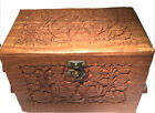 Large Wooden Hand Carved Jewellery Box Three Compartments Vintage Slight Damage