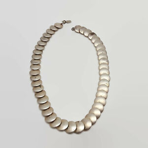 Vintage-Designed-by-Paula-Silver-Tone-Disc-Necklace