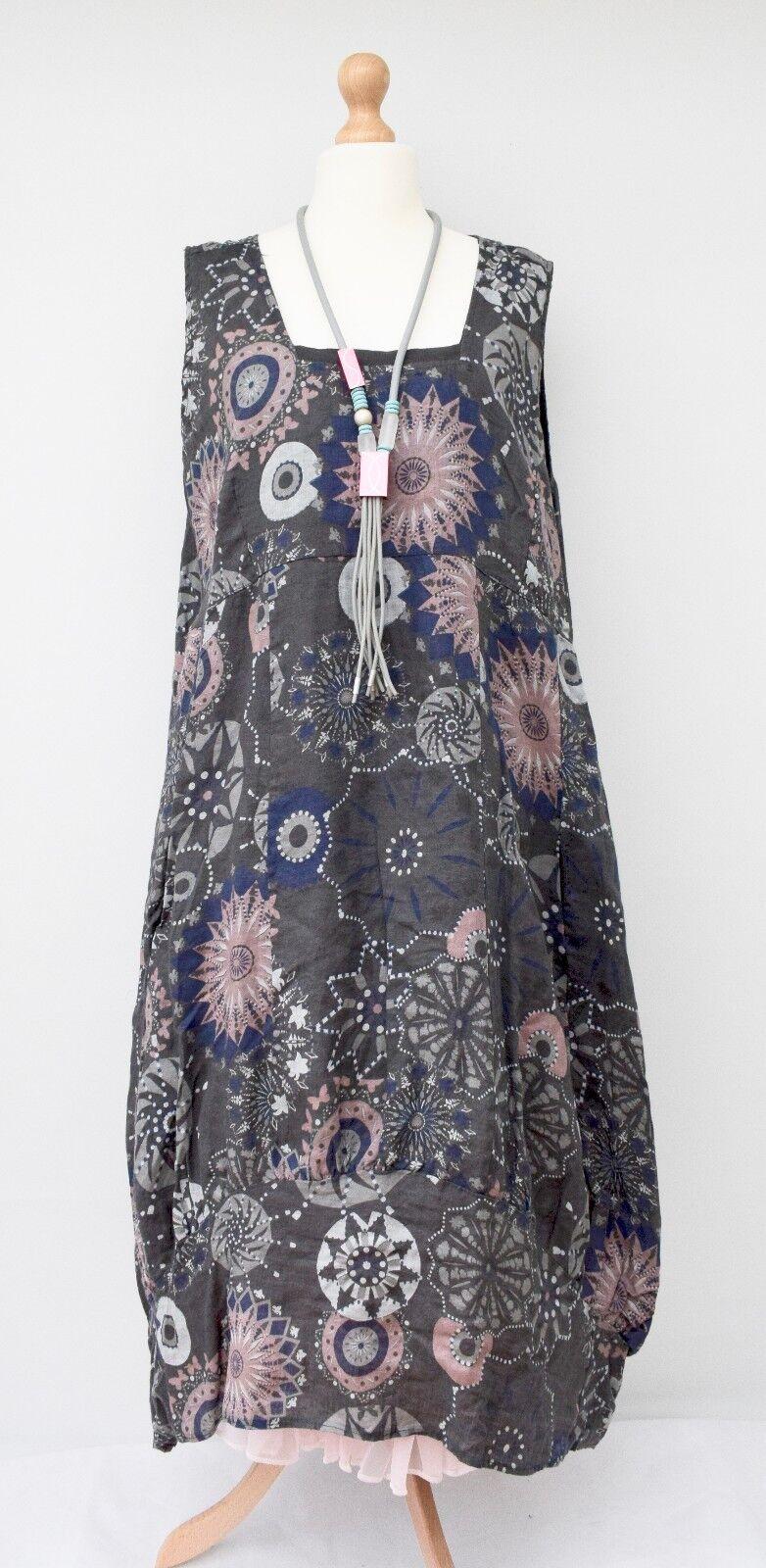 Lagenlook Leinen Übergröße Schöner Aufdruck 2 Taschen Kleid Dunkelgrau